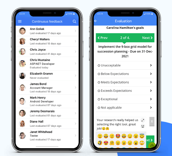 Employee performance evaluation mobile app screen - AssessTEAM