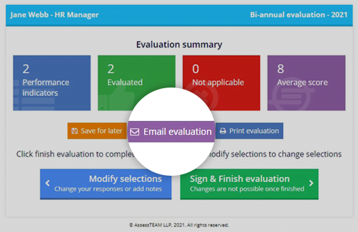 Send out the employee evaluation form to colleagues with ease - AssessTEAM